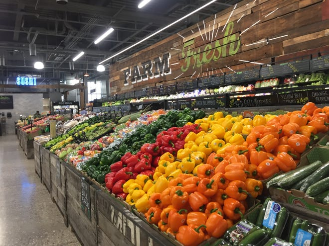 The produce section in the newly-opened Bridge Street Market in the West Side neighborhood of Grand Rapids.