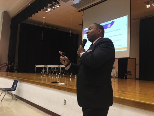 Shelby County Schools Assistant Superintendent Joris Ray speaks with Kirby High School parents during a meeting at Hickory Ridge Middle Schools on Sept. 10, 2018.