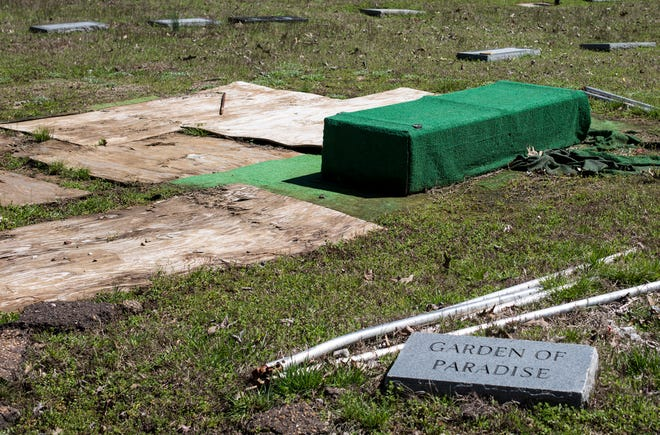 An unfinished gravesite is seen March 30, 2015, at Galilee Memorial Gardens.