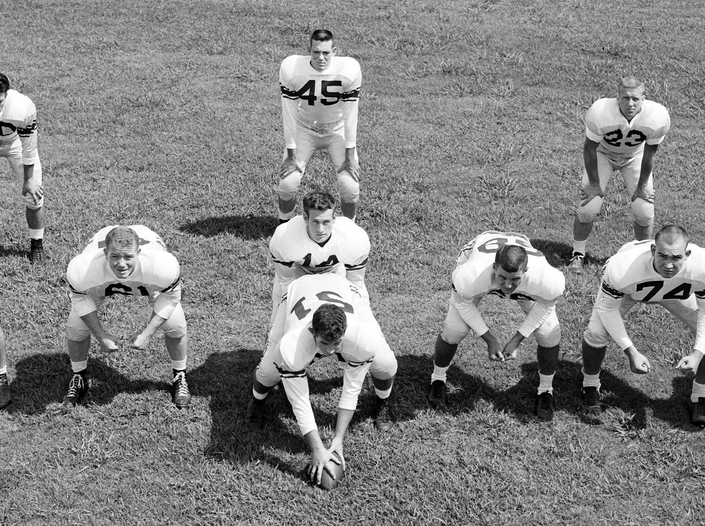 The Memphis State Tigers line up in the new Split-T formation they will use in the upcoming season on 11 Sep 1955.  The Tigers had previously employed the Single Wing formation.  The differences in the formations deal with the spacing between the linemen and the arrangement of the backs.  Lined up in the new formation are (Linemen from Left) David Strickland, Joe Billings, Cotton Clifford, Charles Scholes, John Meibaum, Bob Hazlett and Jerry Christopher.  Backs include quarterback Andy Nelson and (From Left)  Larry Wright, Bobby Brooks and Gerald Bush.  The Tigers first game will be against Trinity University of San Antonio on Sept. 24 at Crump Stadium.
