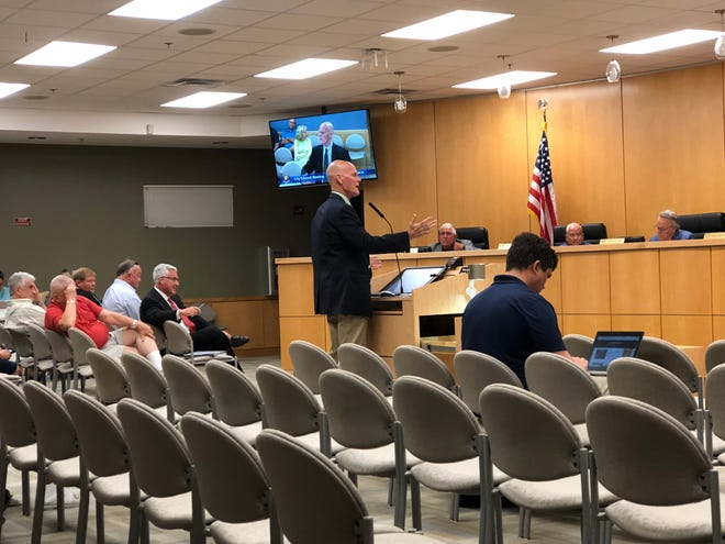 Bob Mulhere, vice president of Hole Montes, Inc., discusses proposed changes to the land development code that would conditionally allow assisted living facilities on Marco Island outside of C-3 and C-4 zones.
