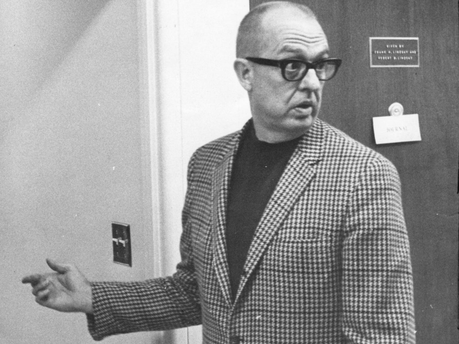 August K. Bergenthal, the accused killer of Universal Foods Chairman Russell D.L. Wirth, stops before entering the hospital room of Wirth's widow, Mary Wirth, at Columbia Hospital on Oct. 7, 1968. The hospital room was the site of a preliminary hearing in the case against Bergenthal, during which Mrs. Wirth, still recovering from being shot by Bergenthal the same night her husband was killed, testified that her husband had told her that Bergenthal had stolen money from the company years earlier and had been discharged. This photo was published in the Oct. 7, 1968, Milwaukee Journal.