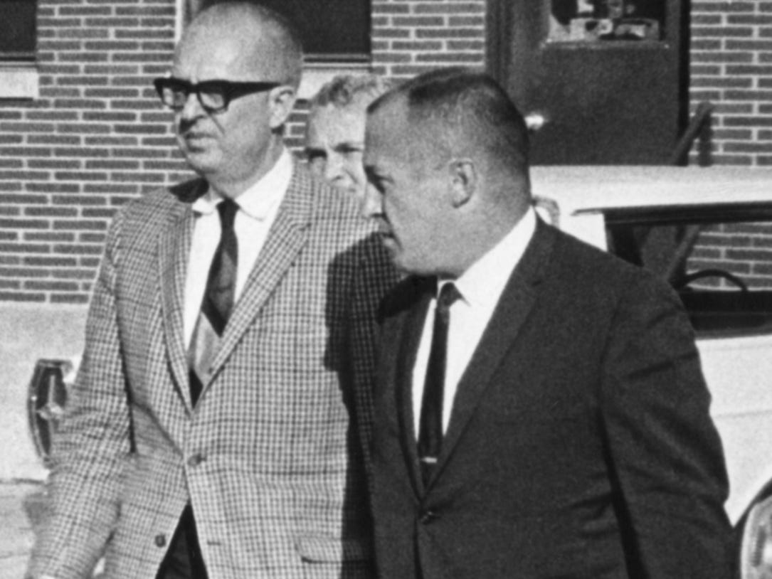August K. Bergenthal (left) and Milwaukee Police Detective Jerry Wiesmueller arrive in Milwaukee on Sept. 27, 1968, afer a flight from Los Angeles. Bergenthal was returned from San Diego under escort to face a murder charge in the Sept. 20, 1968, shooting death of industrialist Russell D.L. Wirth. This photo was published in the Sept. 28, 1968, Milwaukee Sentinel.