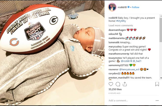 Randall Cobb posted this picture on Instagram with his newborn, Caspian