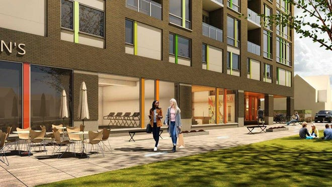 The pedestrian plaza planned for just south of a Bay View apartment building would convert part of Archer Avenue.