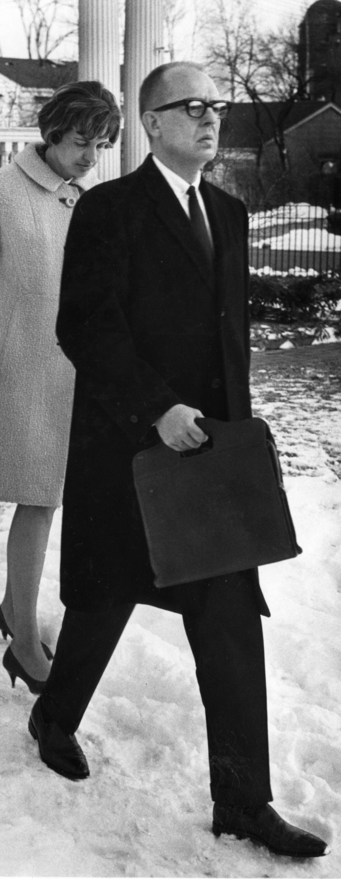 August K. Bergenthal, accused in the deadly September 1968 shooting of Milwaukee industrialist Russell D.L. Wirth, exits the Wirth family home, where the shooting took place, after an inspection of the East Side home by the jury in his murder trial on March 26, 1969. Wirth's wife, Mary, was wounded in the shooting. This photo was published in the March 27, 1969, Milwaukee Journal.