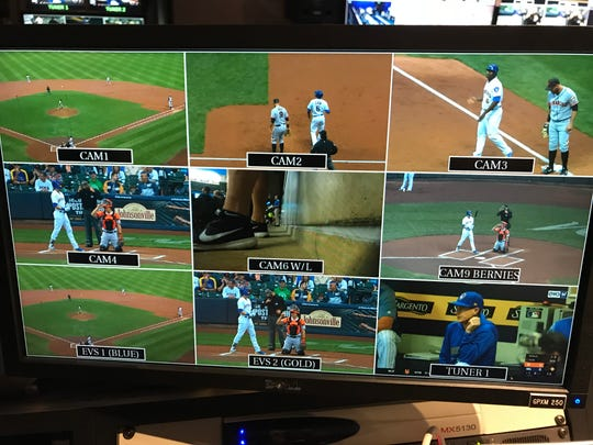 A look at the monitor in scoreboard ops during an at-bat Sept. 7 at Miller Park.