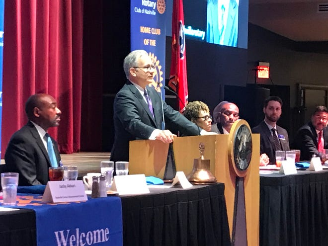 Nashville Mayor David Briley speaking before the Rotary Club of Nashville on Monday at the Wildehorse Saloon.
