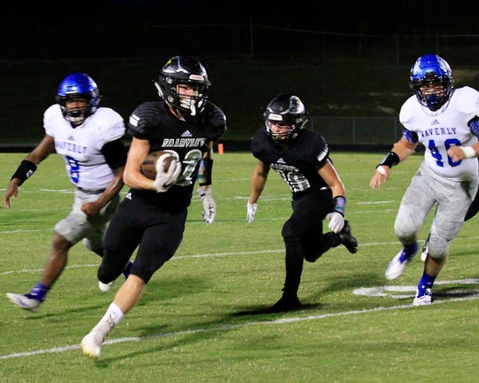 Fairview running back #22 Logan Nardozzi speeds past Tiger defenders to score a touchdown for the Jackets September 7, 2018.