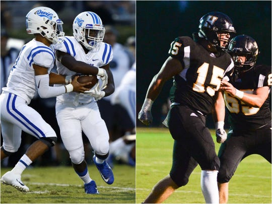 Lebanon running back De'Quantay Shannon (left) and Hendersonville fullback Dalton Jones (right)