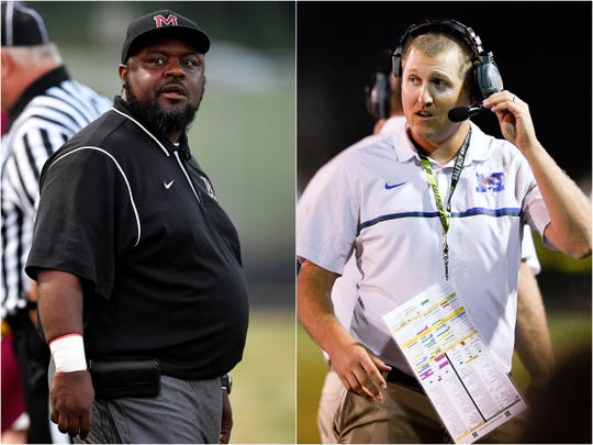 Maplewood coach Arcentae Broom (left) and Marshall County coach Thomas Osteen (right)