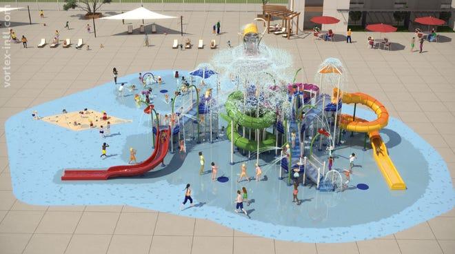 A rendering of the proposed splash pad at Williamson County's Indoor Sports Complex.