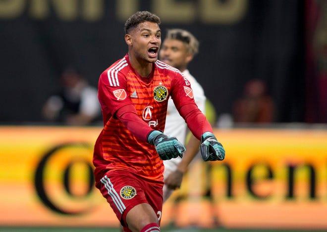 Aug 19, 2018; Atlanta, GA, USA; Columbus Crew goalkeeper Zack Steffen (23) shows emotion against the Atlanta United in the second half at Mercedes-Benz Stadium.