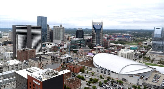 A view of downtown Nashville from Bourbon Steak, celebrity chef Michael Mina's restaurant on the 34th floor of the JW Marriott.
