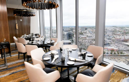 Sweeping views of downtown Nashville can be seen from celebrity chef Michael Mina's Bourbon Steak on the 34th floor of the JW Marriott.
