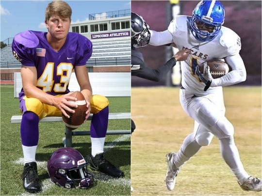 Lipscomb linebacker Nick Paschall (left) and Goodpasture running back Julius Elders (right)