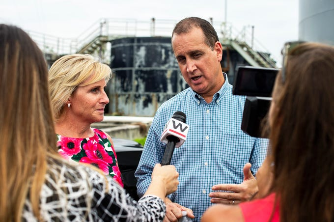 Department of Housing and Urban Development Deputy Secretary Pam Patenaude, left, and Congressman Mario Diaz-Balart talk with media during a press conference in Everglades City, Fla. on Monday, September 10, 2018. Elected officials took a tour of Everglades City, one of the areas hardest hit by Hurricane Irma, and discuseds the continued federal role in disaster recovery one year after Hurricane Irma landed in Florida.