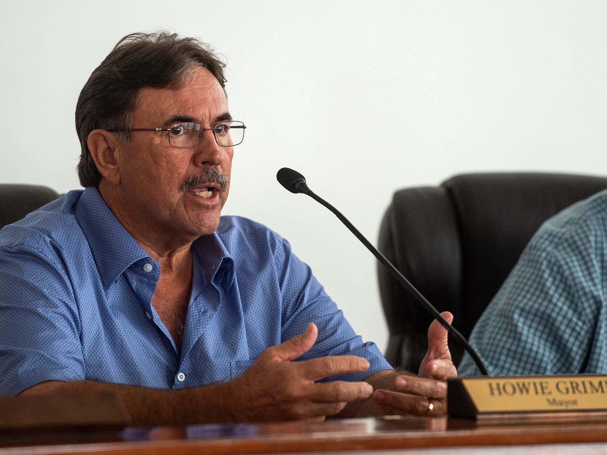 Everglades City Mayor Howie Grimm speaks during a press conference in Everglades City, Fla. on Monday, September 10, 2018. Elected officials took a tour of Everglades City, one of the areas hardest hit by Hurricane Irma, and discuseds the continued federal role in disaster recovery one year after Hurricane Irma landed in Florida.