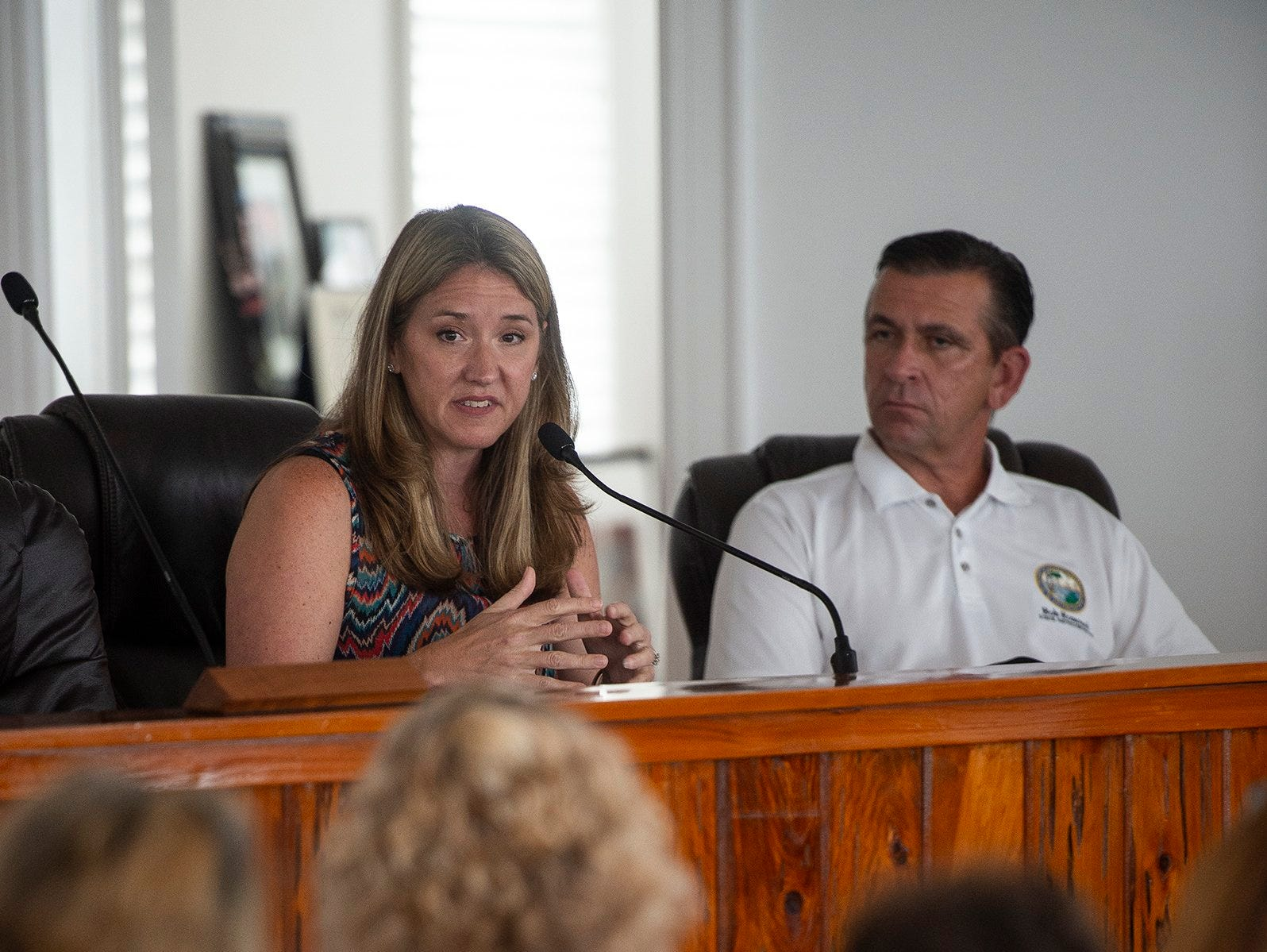 Florida Department of Economic Opportunity Director Cissy Proctor speaks during a press conference in Everglades City, Fla. on Monday, September 10, 2018. Elected officials took a tour of Everglades City, one of the areas hardest hit by Hurricane Irma, and discuseds the continued federal role in disaster recovery one year after Hurricane Irma landed in Florida.