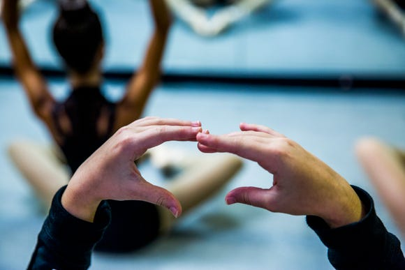 A pointe ballets class takes place at Bonita Academy of Dance on Monday, Sept. 10, 2018.