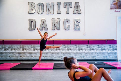 A beginner tumble class for little girls ages five to seven takes place at Bonita Academy of Dance on Monday, Sept. 10, 2018.