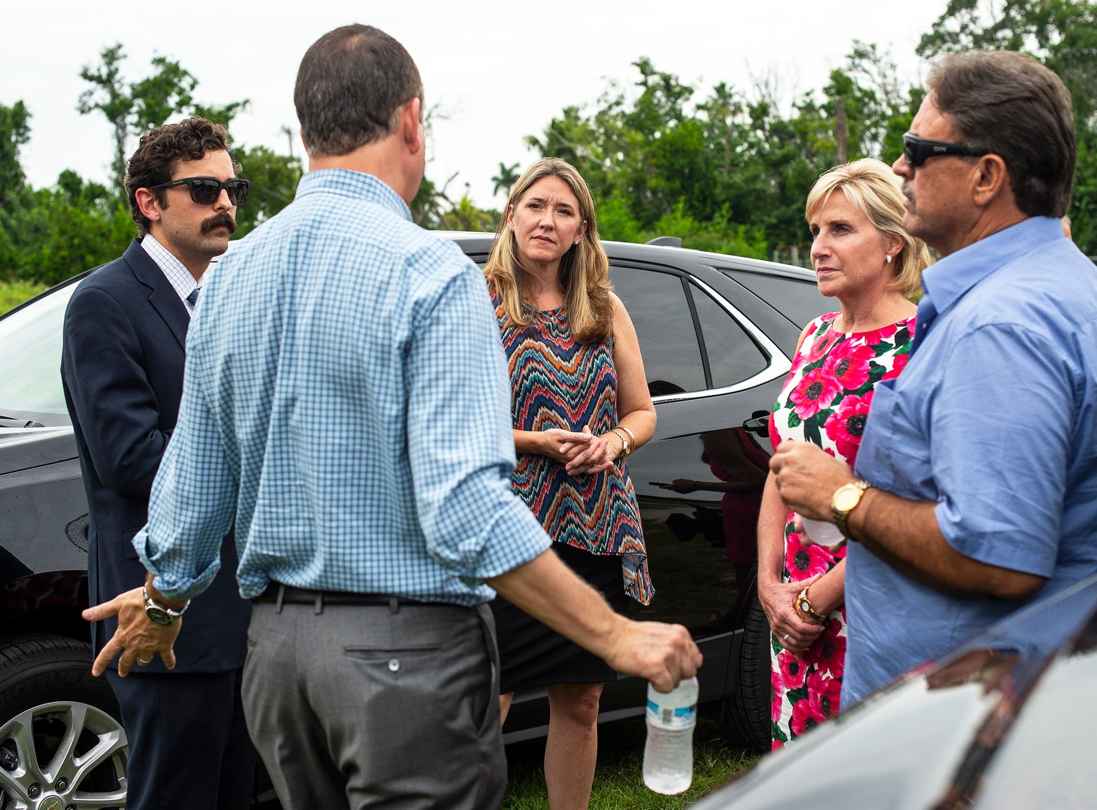 Elected officials take a small tour during a press conference in Everglades City, Fla. on Monday, September 10, 2018. Elected officials took a tour of Everglades City, one of the areas hardest hit by Hurricane Irma, and discuseds the continued federal role in disaster recovery one year after Hurricane Irma landed in Florida.