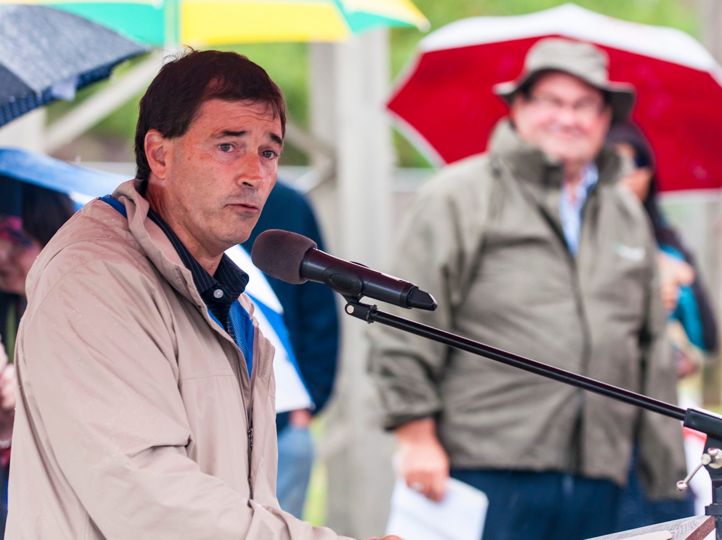 U.S. Representative Troy Balderson speaks during a ceremony held Saturday to unveil the newly restored totem pole placed near Truck One in Newark, Ohio.