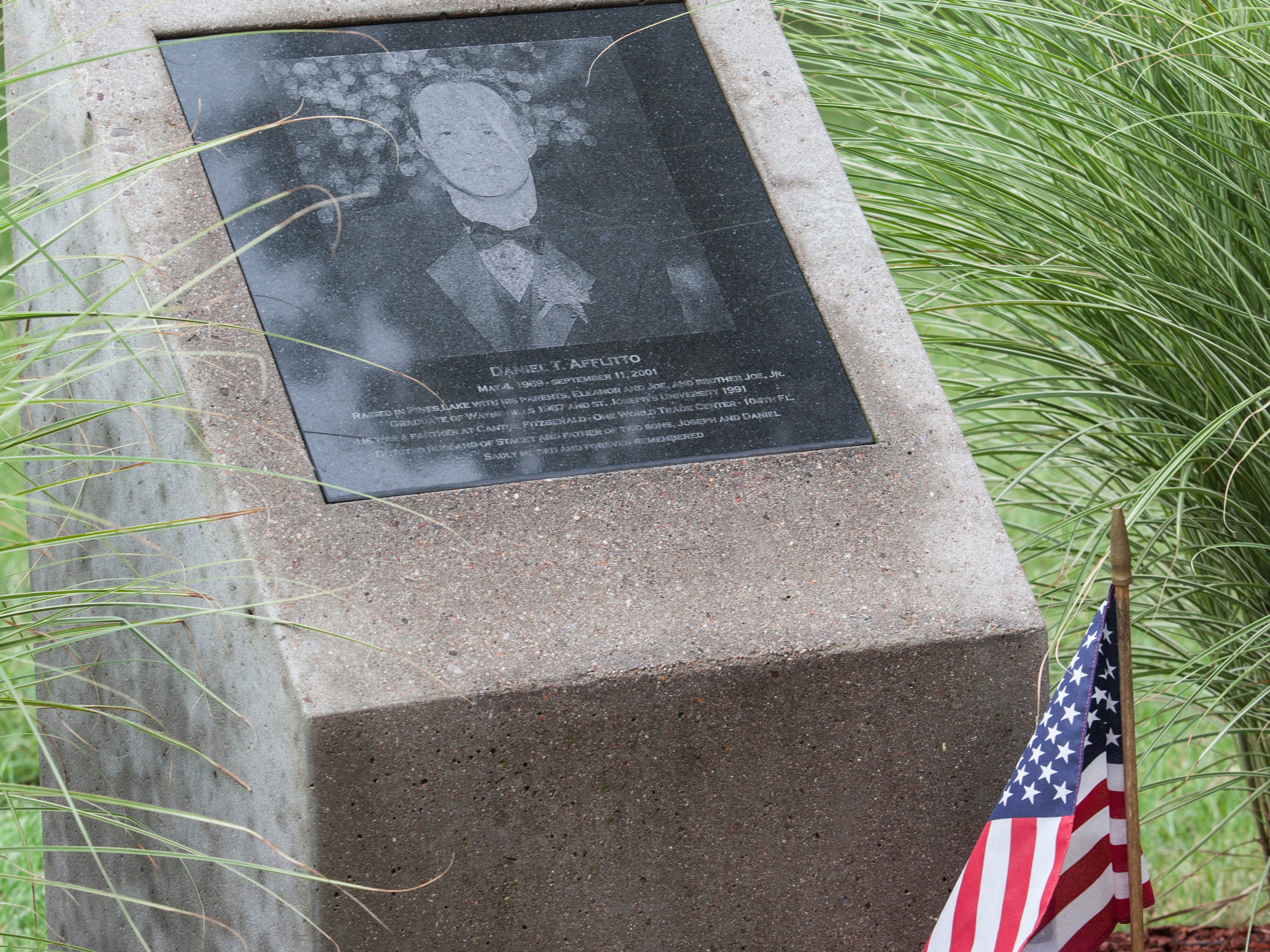 Daniel Afflitto. His memorial is shown here at the Wayne library in Wayne.