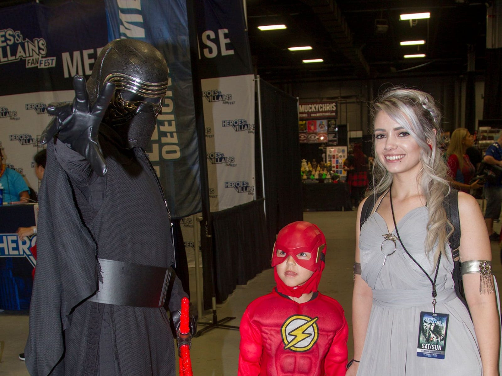 John as Kylo Ren, Andy as The Flash, and Beth as Daenerys Targaryen. The 2018 Heroes and Villains Fan Fest took place at the New Jersey Convention & Expo Center. 09/09/2018