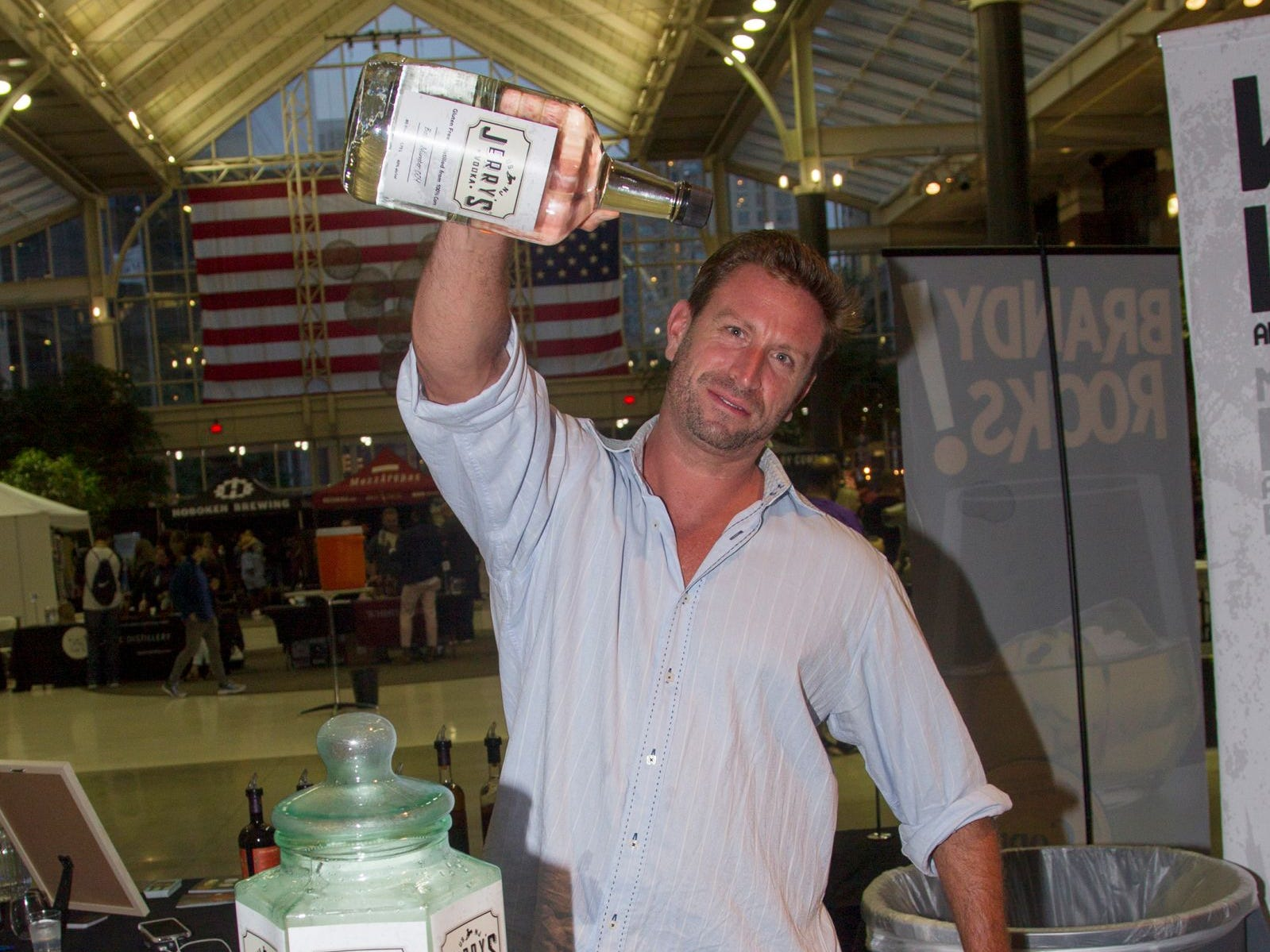 Jerry's Vodka. Jersey City Craft Distillery Fest at the Harborside Atrium featured more than 100 styles of spirits. Guests had the chance to taste craft-distilled spirits from moonshine, rum, cognac, whiskey, vodka, gin, tequila and more. 09/08/2018
