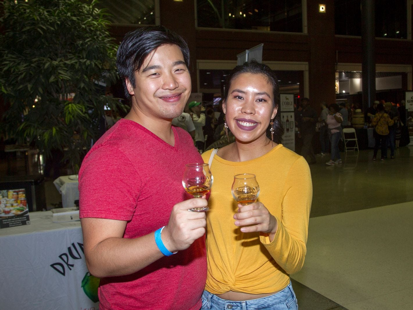 Steve and Linn. Jersey City Craft Distillery Fest at the Harborside Atrium featured more than 100 styles of spirits. Guests had the chance to taste craft-distilled spirits from moonshine, rum, cognac, whiskey, vodka, gin, tequila and more. 09/08/2018