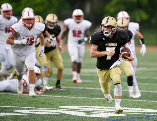 Westwood at River Dell on Friday, August 31, 2018. RD #7 Dave Fletcher on his way to scoring his first touchdown of the game in the second quarter.