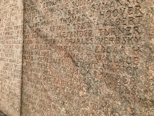 The names of soldiers who died at Camp Merritt, the World War I military base in Bergen County, during the 1918 flu epidemic are inscribed on the memorial to the camp located near the Cresskill-Dumont border.