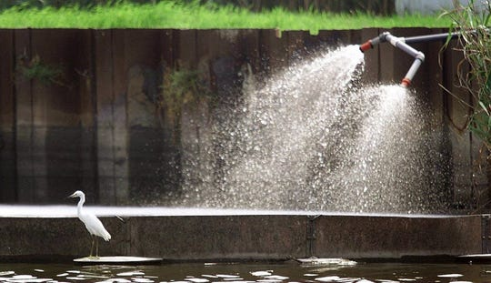An egret stands on the float of a containment boom as treated wastewater is pumped out by the Secaucus sewage treatment plant along Mill Creek in Secaucus in 2000.