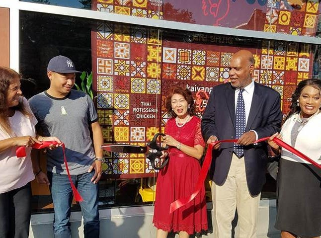 Kai Yang is Montclair's newest restaurant offering the popular Thai street food dish kai yang (translating to grilled chicken) and other authentic Thai dishes from award-winning restaurateur Sheree Sarabhaya.  The marinated organic rotisserie chickens will be served with traditional sides papaya salad and sticky rice.  At the recent ribbon cutting: Councilwoman Robin Schlager, Luck Sarabhayavanija, Sheree Sarabhaya, owner, Mayor Robert Jackson and Councilwoman Renee Baskerville.
