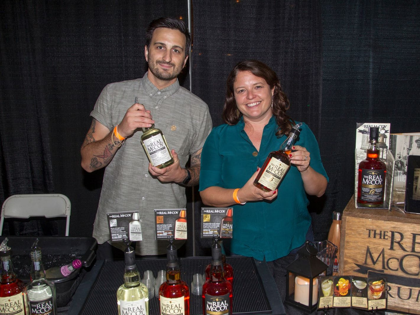 The Real Mc Coy - Joshua Perez, Abbi Miller. Jersey City Craft Distillery Fest at the Harborside Atrium featured more than 100 styles of spirits. Guests had the chance to taste craft-distilled spirits from moonshine, rum, cognac, whiskey, vodka, gin, tequila and more. 09/08/2018