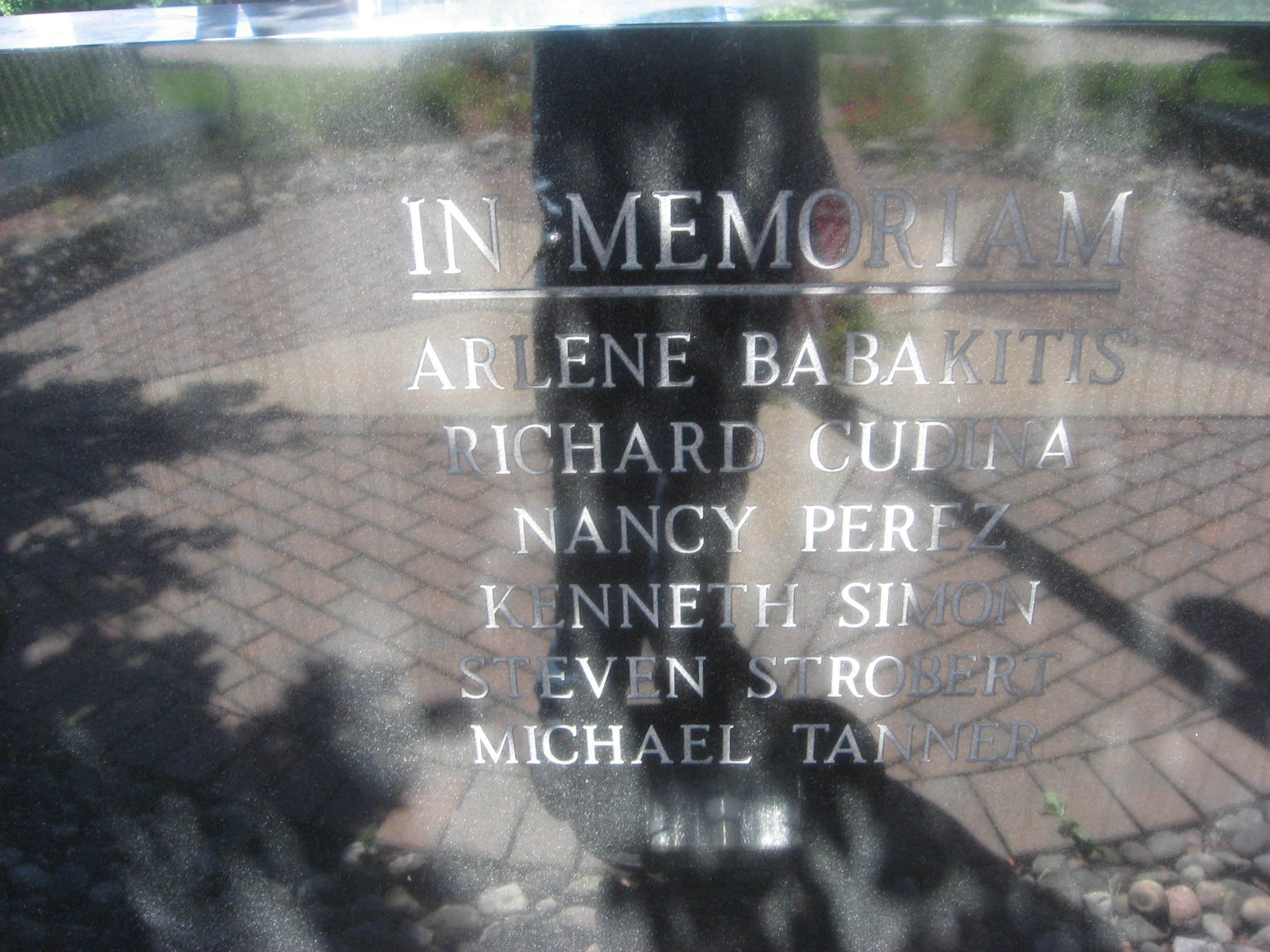 Arlene Babakitis, Richard Cudina, Nancy Perez, Kenneth Simon, Steven Strobert, and Michael Tanner, all from Secaucus, are etched in this memorial located at 1379 Paterson Plank Road, Secaucus.