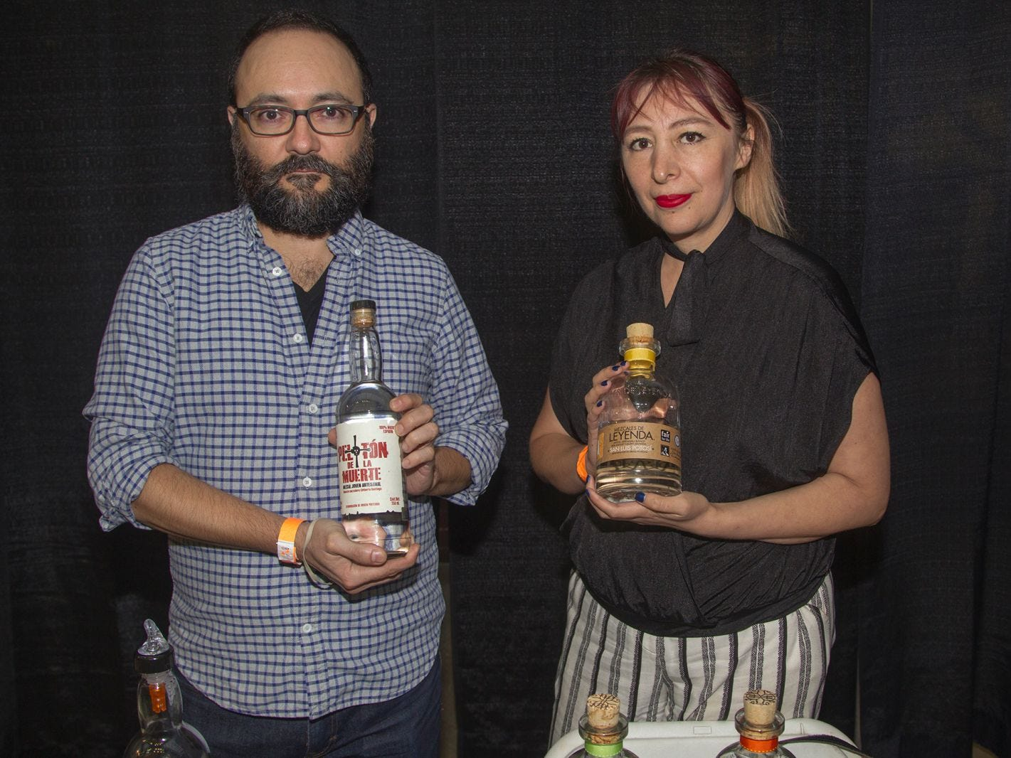 Mezcales De Leyenda - Benjamin and Issel. Jersey City Craft Distillery Fest at the Harborside Atrium featured more than 100 styles of spirits. Guests had the chance to taste craft-distilled spirits from moonshine, rum, cognac, whiskey, vodka, gin, tequila and more. 09/08/2018