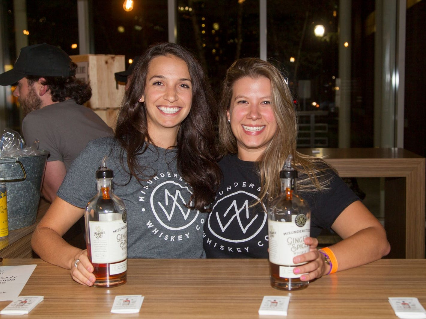 Michelle and Naomi. Jersey City Craft Distillery Fest at the Harborside Atrium featured more than 100 styles of spirits. Guests had the chance to taste craft-distilled spirits from moonshine, rum, cognac, whiskey, vodka, gin, tequila and more. 09/08/2018