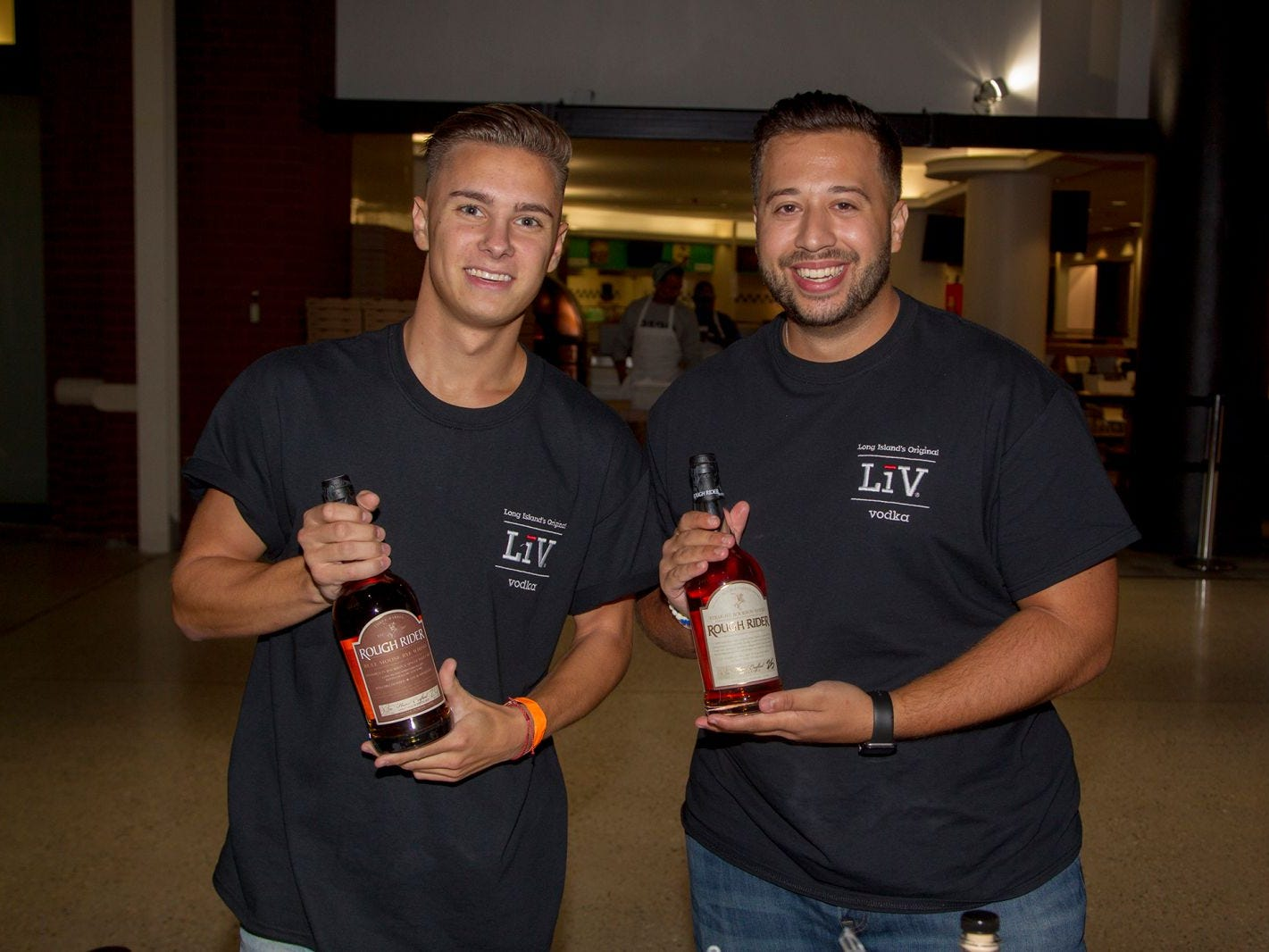 Rough Rider - Michael Tallen, Justin Carpenzano. Jersey City Craft Distillery Fest at the Harborside Atrium featured more than 100 styles of spirits. Guests had the chance to taste craft-distilled spirits from moonshine, rum, cognac, whiskey, vodka, gin, tequila and more. 09/08/2018