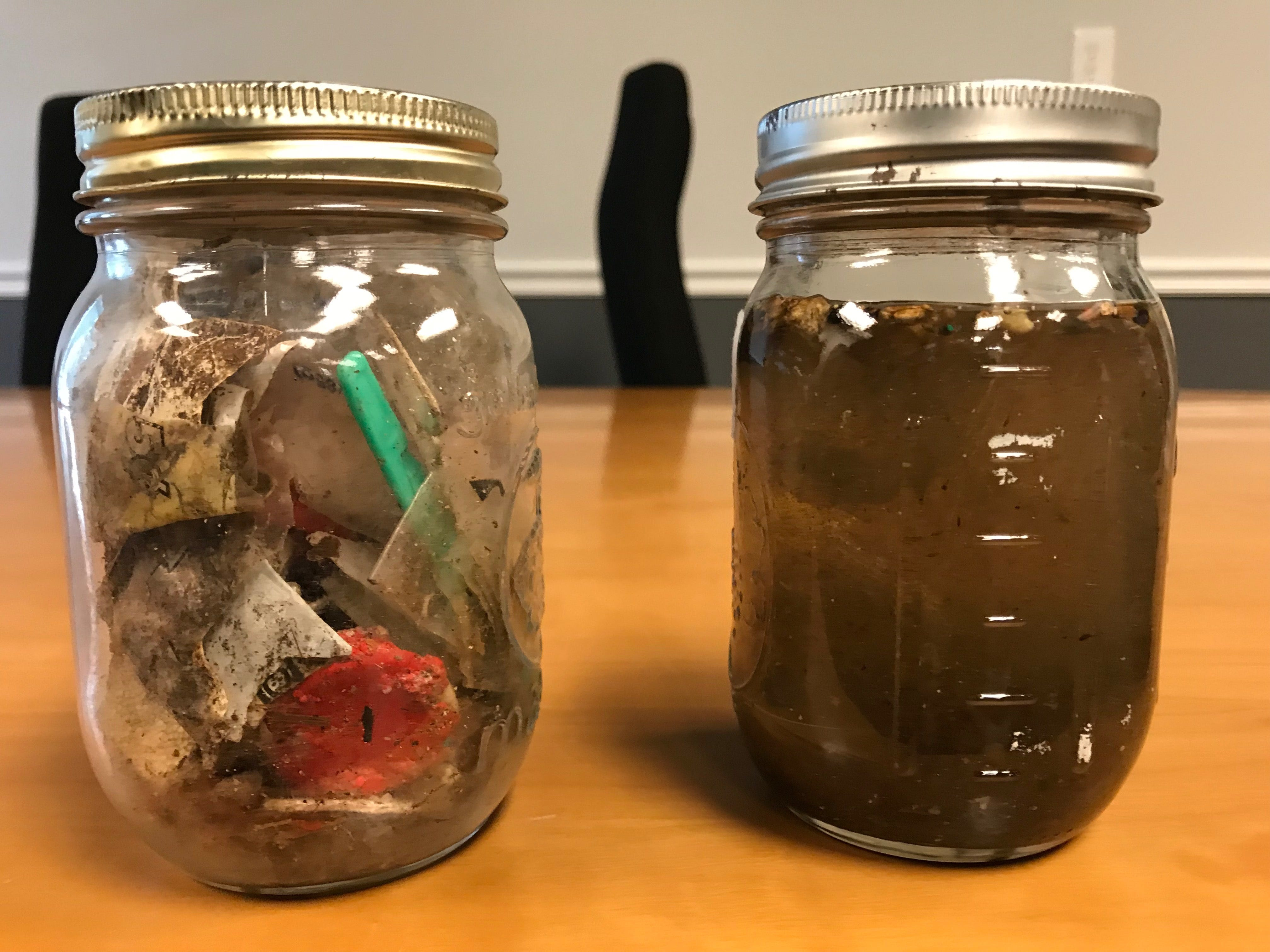 Large plastics on the left and smaller plastics on the right taken from the lower Passaic River by NY/NJ Baykeeper after its net was only in the water for 15 to 20 minutes.