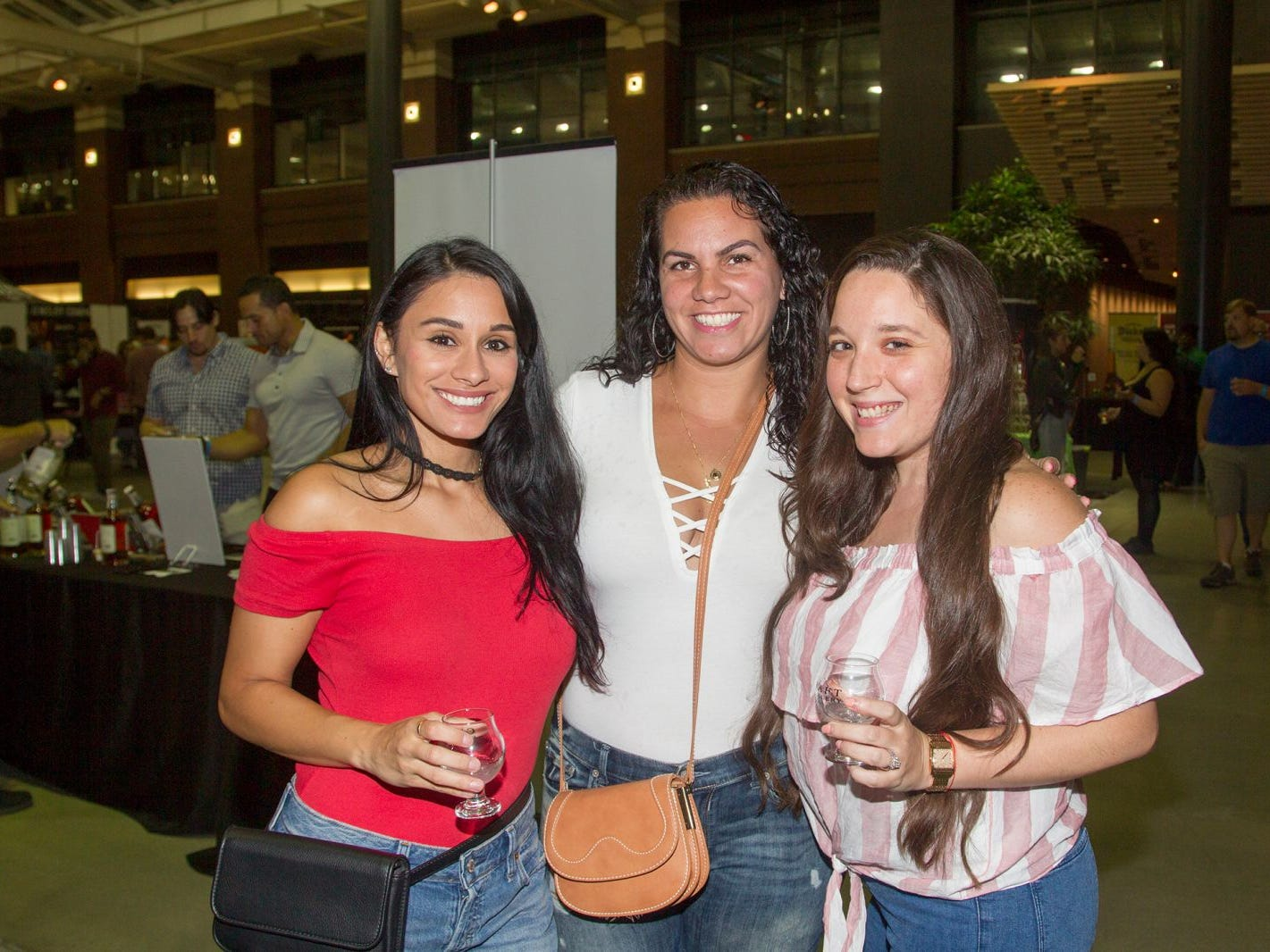 Carli, Nikki, Fran. Jersey City Craft Distillery Fest at the Harborside Atrium featured more than 100 styles of spirits. Guests had the chance to taste craft-distilled spirits from moonshine, rum, cognac, whiskey, vodka, gin, tequila and more. 09/08/2018