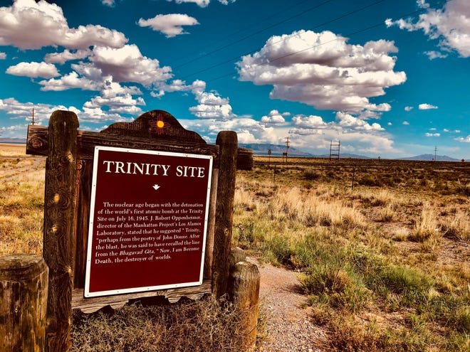 A Trinity Site historical marker stating Manhattan Project Director's Dr. J. Robert Oppenheimer's quote after the Trinity Site explosion.