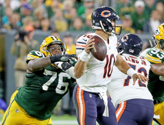 Green Bay Packers defensive tackle Mike Daniels (76) strains to get to / against the Chicago Bears Sunday, September 9, 2018 at Lambeau Field in Green Bay, Wis. Jim Matthews/USA TODAY NETWORK-Wisconsin
