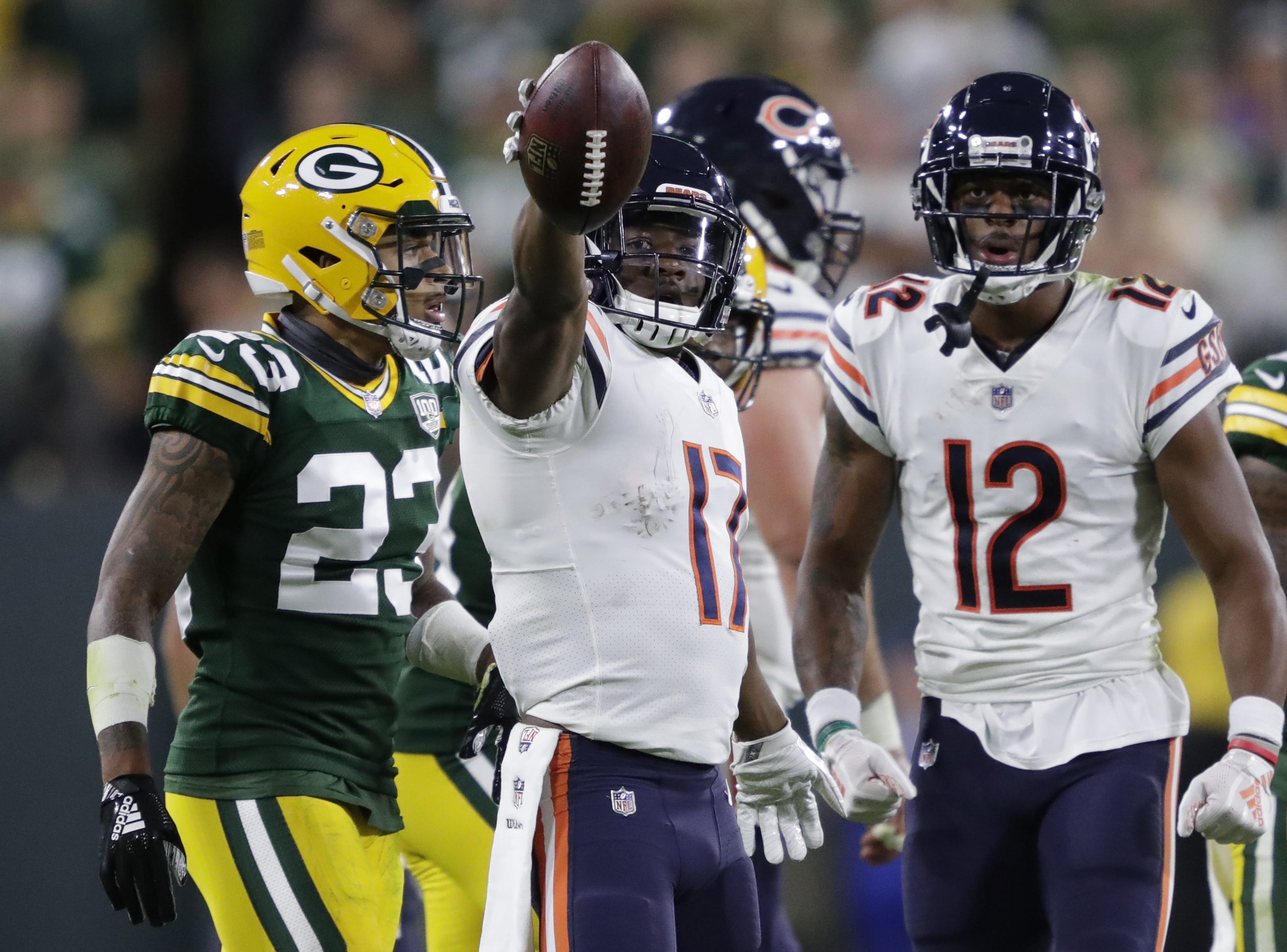 Chicago Bears wide receiver Anthony Miller (17) celebrates a first down reception in the fourth quarter against the Green Bay Packers Sunday, Sept. 9, 2018, at Lambeau Field in Green Bay, Wis.