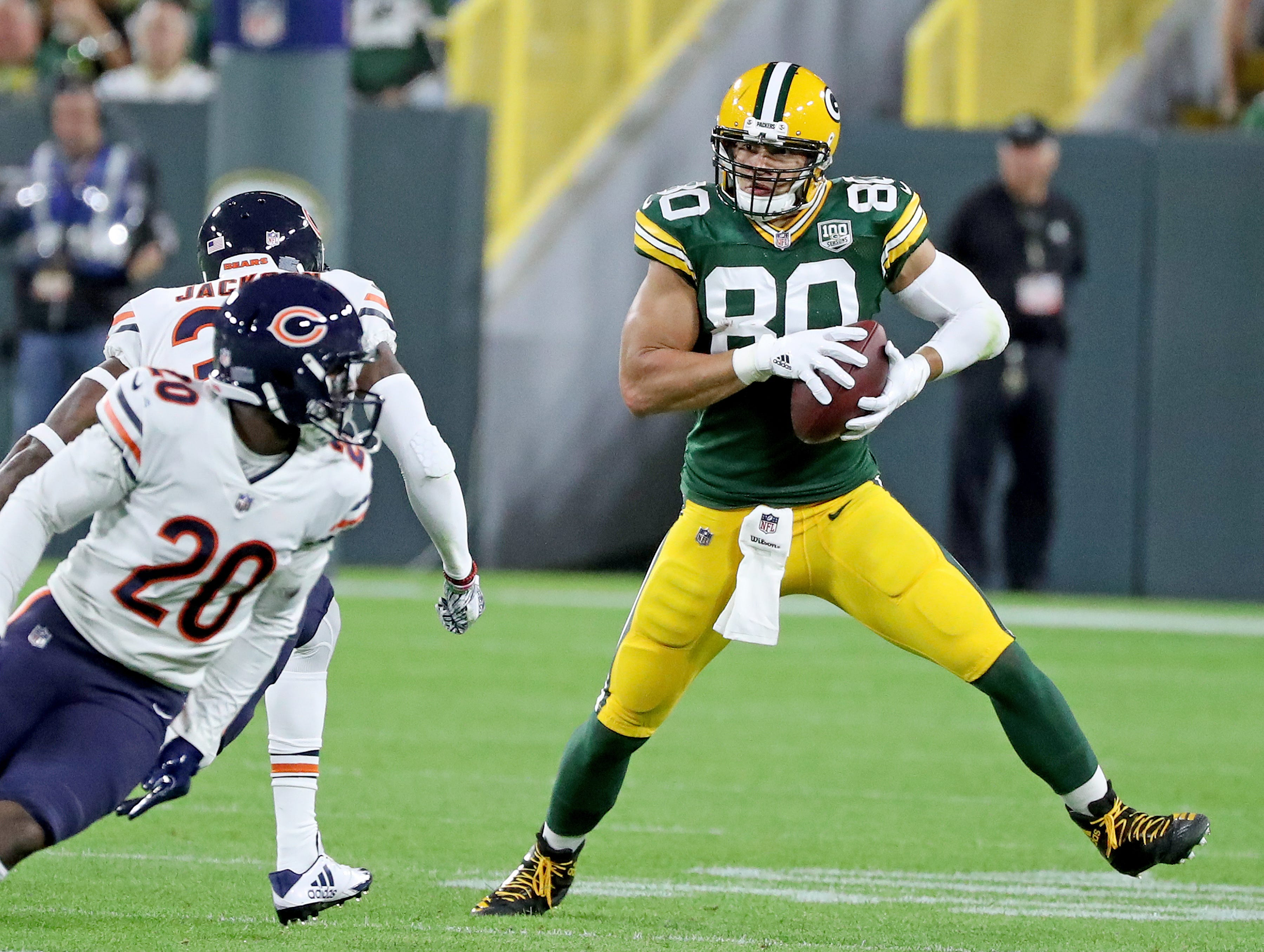 Green Bay Packers tight end Jimmy Graham (80) catches a pass against the Chicago Bears Sunday, September 9, 2018 at Lambeau Field in Green Bay, Wis. Jim Matthews/USA TODAY NETWORK-Wisconsin