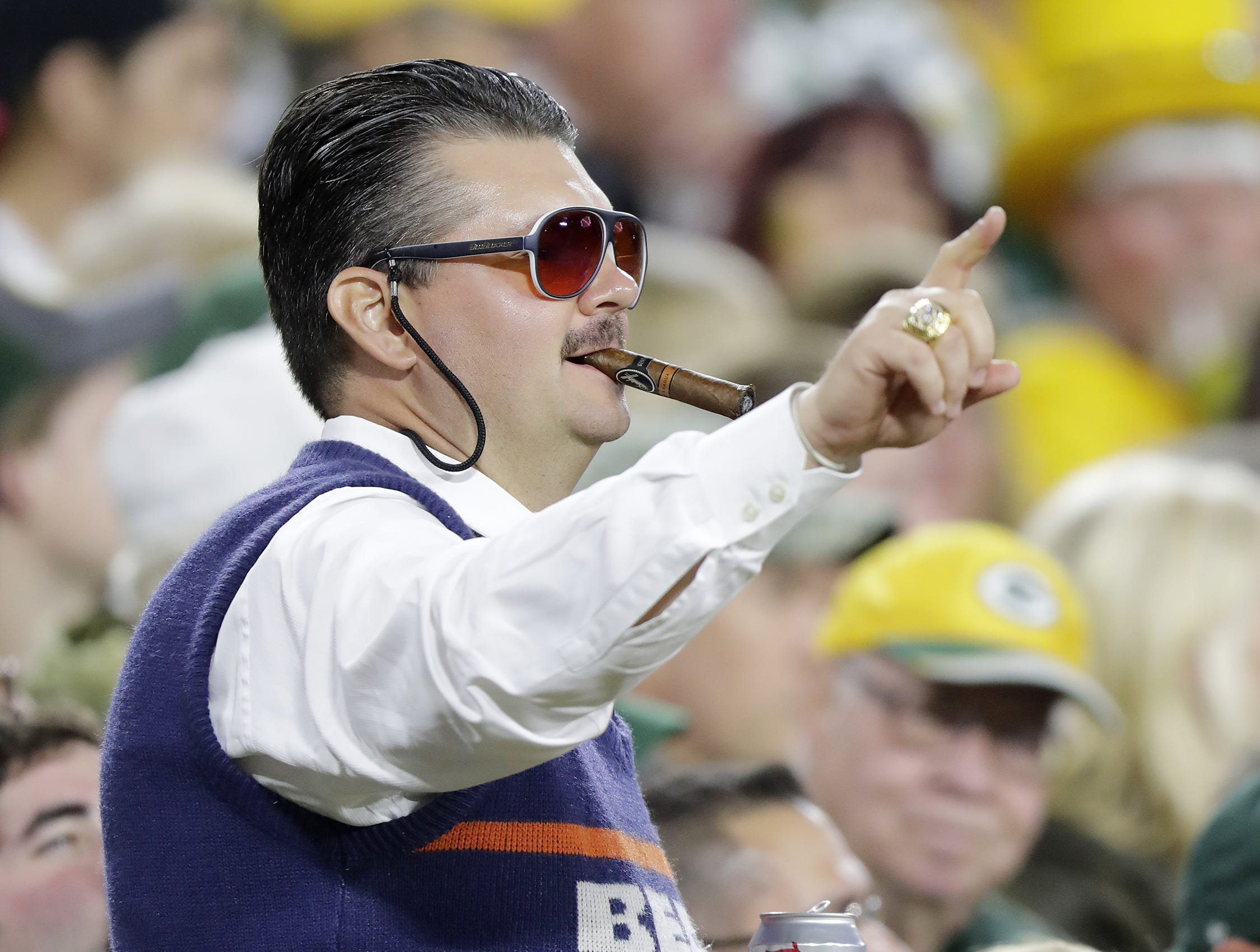 A Chicago Bears fan reacts during the first quarter against the Green Bay Packers at Lambeau Field on Sunday, September 9, 2018 in Green Bay, Wis.