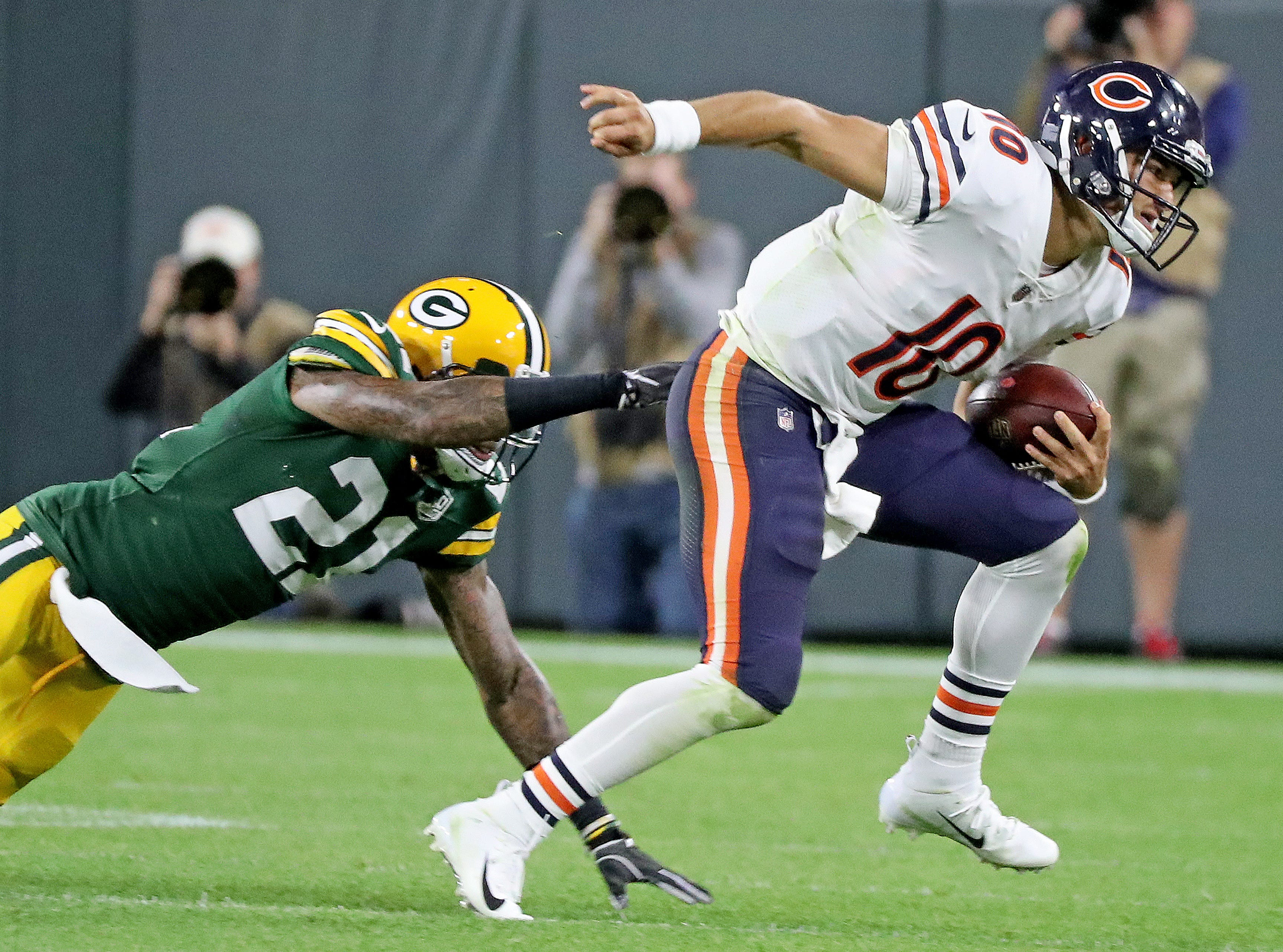 Green Bay Packers defensive back Ha Ha Clinton-Dix (21) chases quarterback Mitchell Trubisky (10) against the Chicago Bears Sunday, September 9, 2018 at Lambeau Field in Green Bay, Wis.