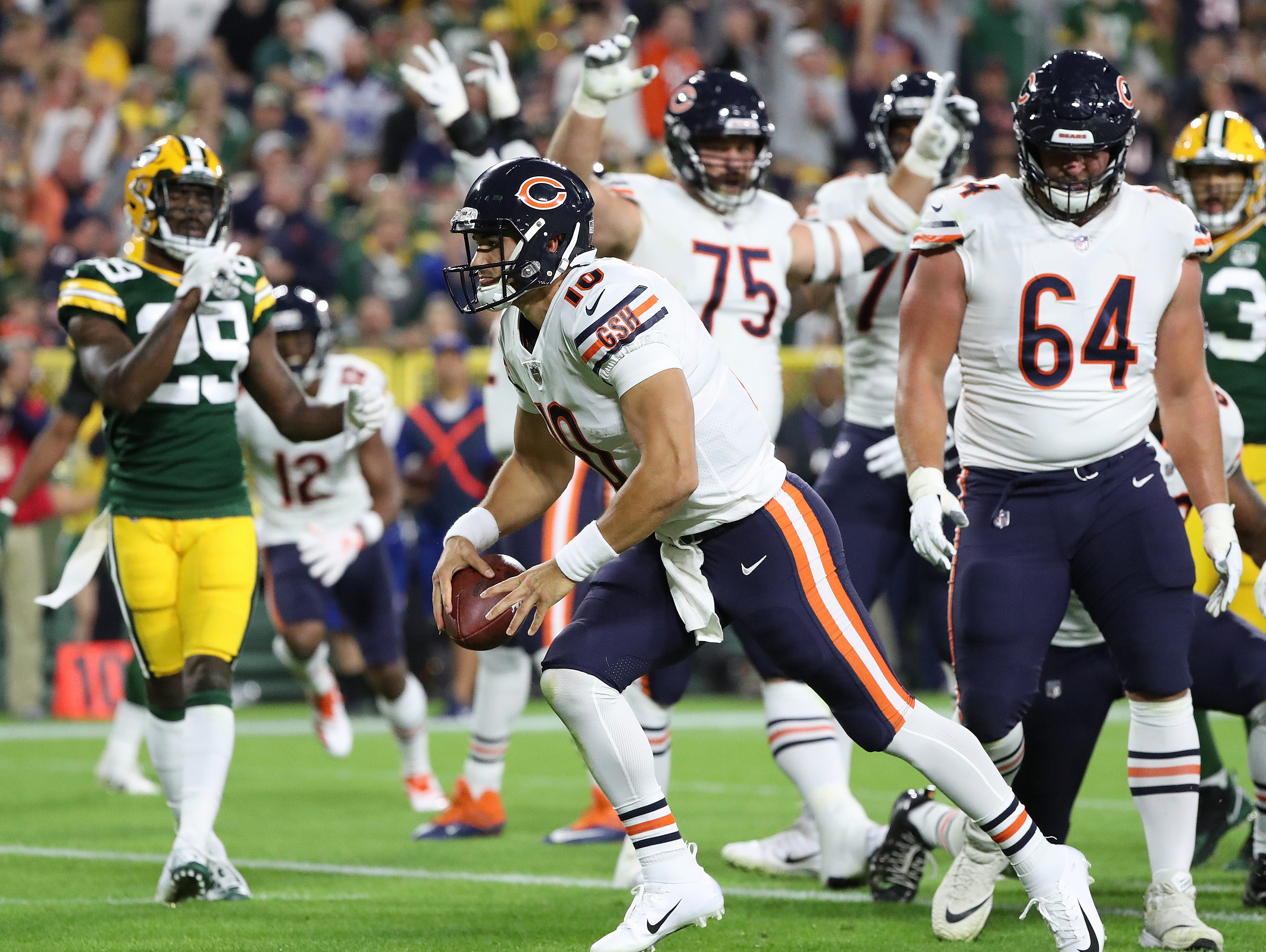 Chicago Bears quarterback Mitchell Trubisky (10) celebrates his touchdown against the Green Bay Packers in the first quarter Sunday, September 9, 2018 at Lambeau Field in Green Bay, Wis.