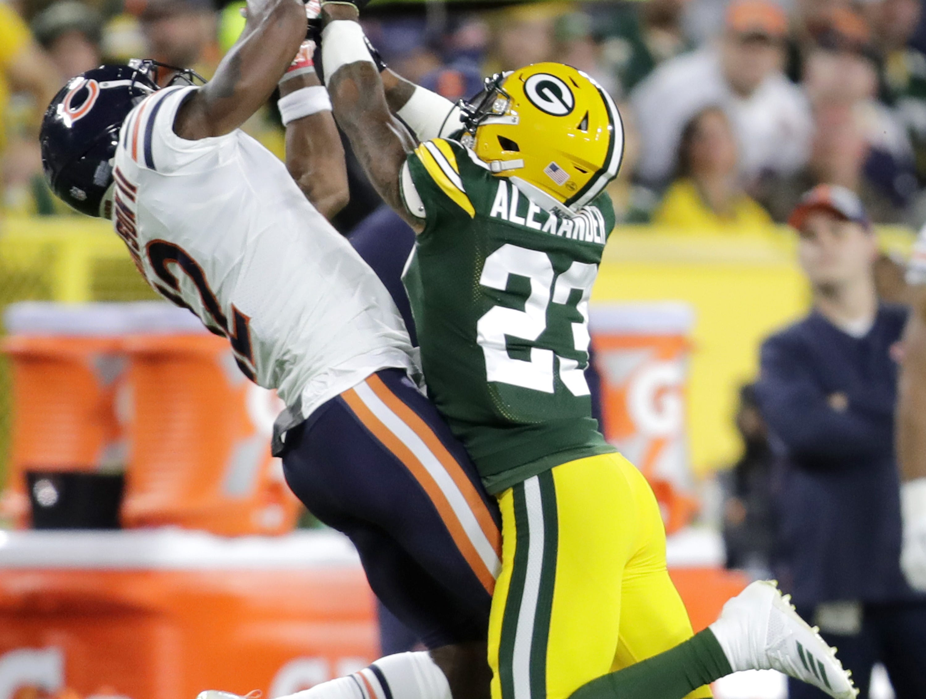 Green Bay Packers' Jaire Alexander against Chicago Bears' Allen Robinson in the season opener on Sunday, September 9, 2018, at Lambeau Field in Green Bay, Wis.